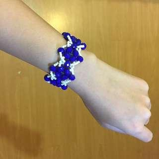 國外帶回-手工藝超顯白寶藍色手鏈手環