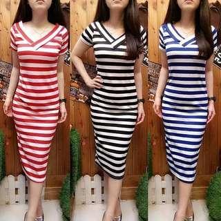 Midi stripe vneck dress