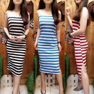 Midi dress stripe tube