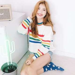 •PO• RAINBOW STRIPES KNITTED PULLOVER