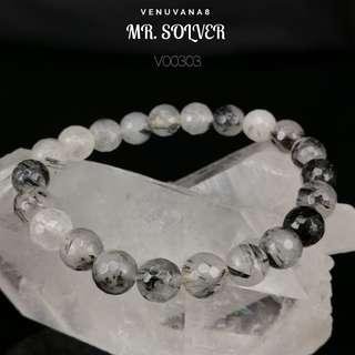 🚚 MR. SOLVER Tourmalinated Clear Quartz (8mm Faceted Bead) Bracelet -It is an excellent stone in providing Clarity in life to facilitate problem solving.
