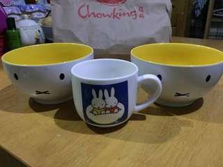 Miffy Ramen bowls w/ free Miffy cup