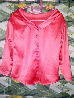 shiny red long sleeves