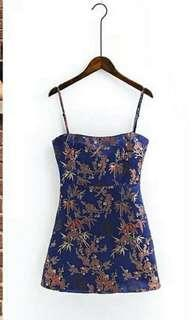 Dress with backzipper and adjustable strap