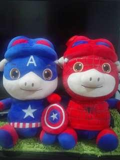 Piggy Spiderman and Captain America For Sale