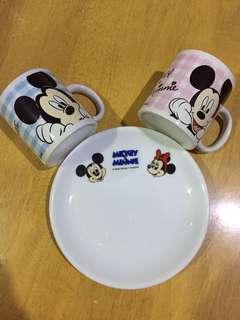 Mickey&Minnie Cups & Cake plate