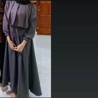 Dark Gray Dress Hijab / Tunik Hijab / Gray Blouse / Shirt / Flare Dress / Dress Hijab / Atasan / Baju Hijab / Peplum Dress / Top