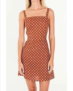Faithfull linen Stepper Dress in Es Trenc rust spot print, size 6 RRP $209