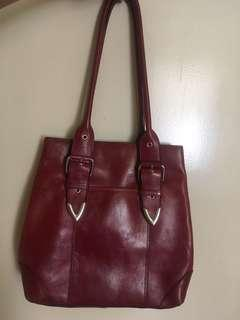 Genuine Leather burgundy wine red bag with adjustable strap on both sides and hidden magnetic closure for anti theft with free twilly