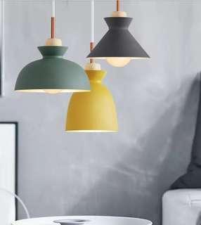 🚚 北歐馬卡龍實木吊燈餐吊燈LED燈