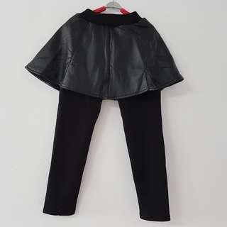 BN Leather Skirt Wool Leggings / Winter Pants Girls - Black Pants