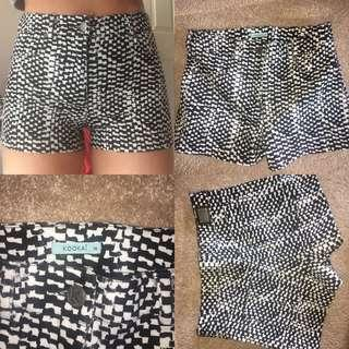 kookai mini shorts black and white