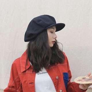 🚚 日本超大復古八角帽 報童帽 畫家帽 黑