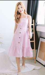 🚚 MFW Pinstripe Button Midi Dress (Pink)