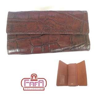 FOSSIL JORI RFID FLAP CLUTCH BROWN CROCO SWL1824204
