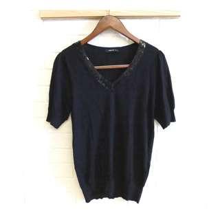 日本品牌 COMME CA ISM 休閒低調針織衫 M