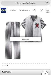 全新 GU Snoopy 史努比 家居服 刺繡 條紋 套裝 M