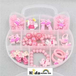 🚚 Pappa Pig Hair Accessories Set/Jewelry Gift Set w Box for Toddler Kids Children Girl A052