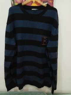 ~二手~帥氣TEE casual藍黑色橫條紋紳士毛衣