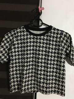 Houndstooth boxy shirt