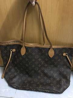 100%real LV Neverfull tote bag 手袋 90%new