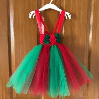 Christmas Inspired Tutu Dress (w/ headband & barefoot baby sandals)