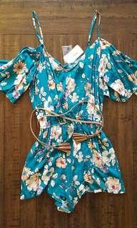 Floral off-shoulder romper with braided belt *Forever 21*