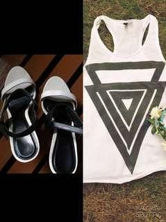 Charles and Keith sandals and H&M sando