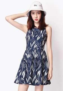 AFA Forever Box Pleated Dress in Navy Leaf