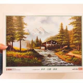 名家創作系列-水車、白鴿、溪流/1000片拼圖