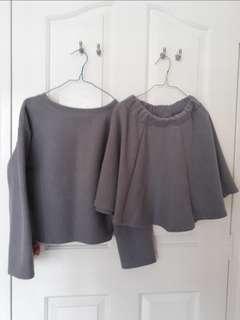 (BOTH FOR $30!) Ulzzang Grey Top and Skater Skirt Set
