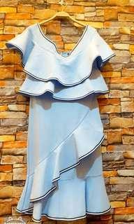🚚 天空藍一字領魚尾洋裝