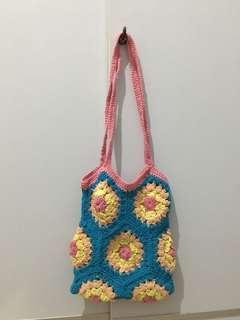 Tas rajut handmade (Blue-pink)