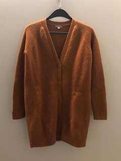 COS 100% wool brown cardigan