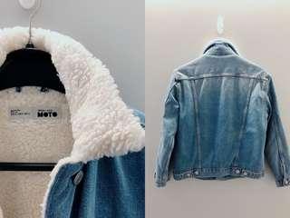 Topshop denim jacket with fur collar made in turkey