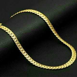 18K Gold Plated Solid Chain Necklace (55cm)