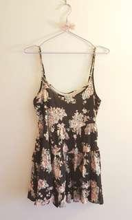 Tiered floral dress with open back