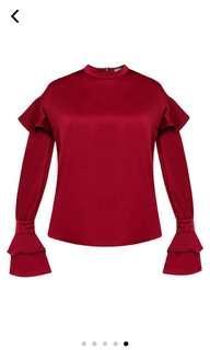 New zalora high neck frill sleeve top