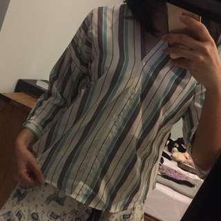 Kimono top / kemeja / baju kerja / atasan garis2