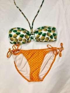 Not worn: Pineapple mix match bikini