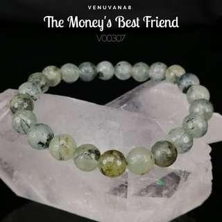 🚚 The Money's Best Friend Prehnite Crystal Bracelet - Light Green with Black Inclusion are the colour of Money, they vibrate at the same frequency of Money. Wear it to attract Money, make good friend with it to achieve our Financial Freedom.