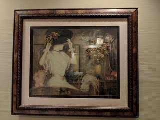 Glass-framed painting