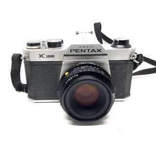 Pentax K1000 w/ 50mm F2 Lens and Leather Case