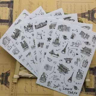 🚚 🌟BN INSTOCKS Cute Random Round The World Monuments Bubble Stickers Pack