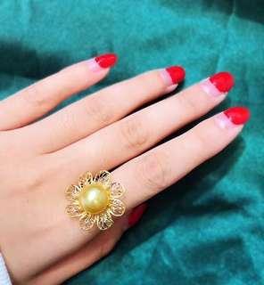 南洋金色珍珠戒指 South sea golden pearl ring