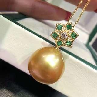 南洋金色珍珠鑽石祖母綠吊墜 South sea golden pearl dia emerald pendant