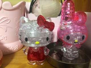 Hello Kitty Melody水晶模型 立體拼圖 80一隻