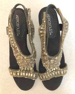 REPRICED Crystal Beaded Kitten Heel Sandals
