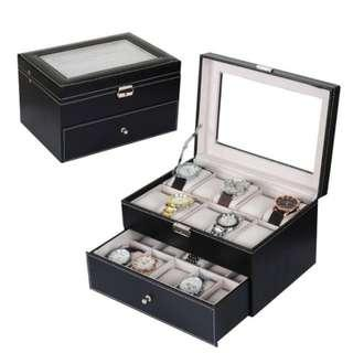 20 Slot PU Double Deck Watch Storage Box