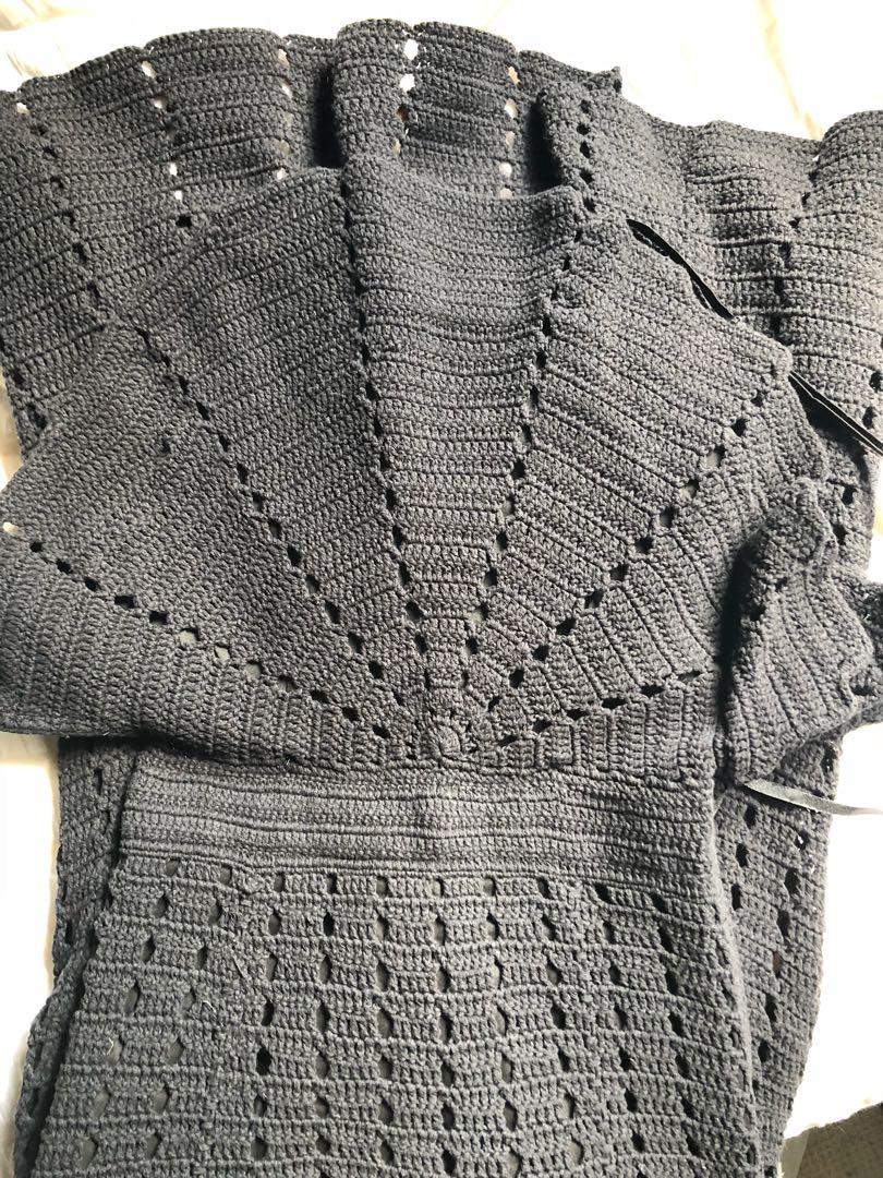 Alice McCall Black Crochet Dress, Size 6 'Room Is On Fire'